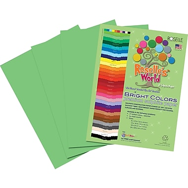 Roselle Bright Colors Sulfite Construction Paper, 9in. x 12in., Lime Yellow, 50 Sheets