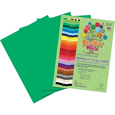 Roselle Bright Colors Sulfite Construction Paper, 9in. x 12in., Festive Green, 50 Sheets