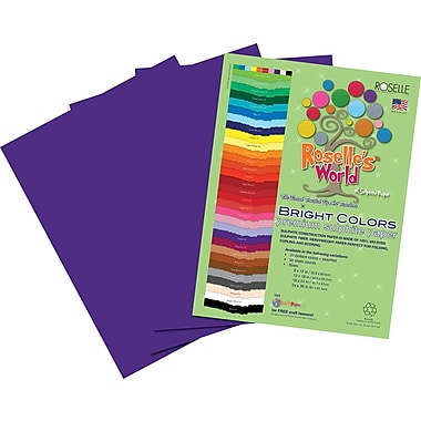 Roselle Bright Colors Sulfite Construction Paper, 12in. x 18in., Violet, 50 Sheets