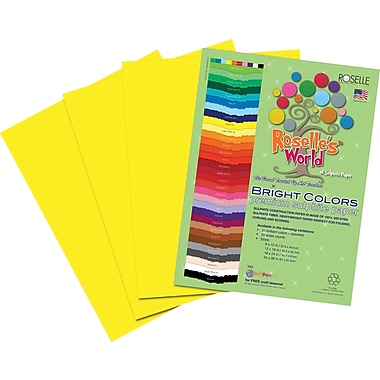Roselle Bright Colors Sulfite Construction Paper, 12in. x 18in., Yellow, 50 Sheets