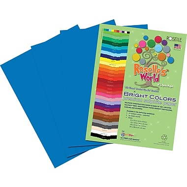 Roselle Bright Colors Sulfite Construction Paper, 12in. x 18in., Blue, 50 Sheets