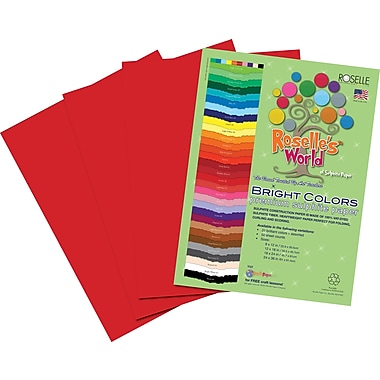 Roselle Bright Colors Sulfite Construction Paper, 12in. x 18in., Holiday Red, 50 Sheets