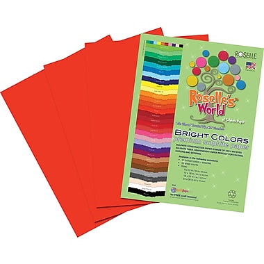 Roselle Bright Colors Sulfite Construction Paper, 12in. x 18in., Red, 50 Sheets