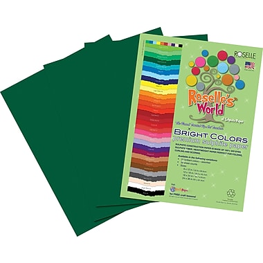 Roselle Bright Colors Sulfite Construction Paper, 12in. x 18in., Dark Green, 50 Sheets