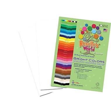Roselle Bright Colors Sulfite Construction Paper, 12in. x 18in., Bright White, 50 Sheets