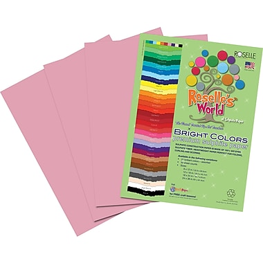 Roselle Bright Colors Sulfite  Construction Paper, 12in. x 18in., Pink, 50 Sheets
