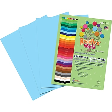 Roselle Bright Colors Sulfite Construction Paper, 12in. x 18in., Sky Blue, 50 Sheets