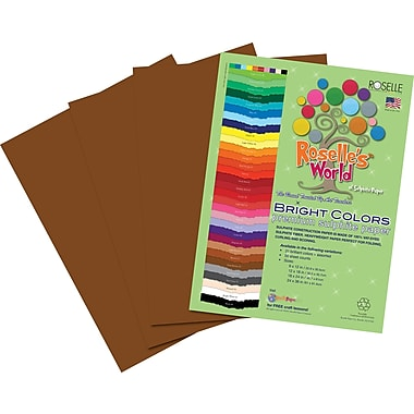 Roselle Bright Colors Sulfite Construction Paper, 12in. x 18in., Dark Brown, 50 Sheets