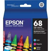 Epson® – Cartouches d'encre 68 (T068520-S) cyan/magenta/jaune, haut rendement, paq./3