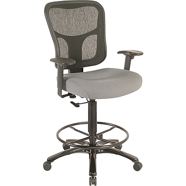 Tempur-Pedic Mid-Back Fabric Drafting Stool, Gray