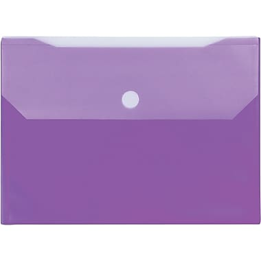 Winnable Velcro Poly File Pockets, Purple, 12-Pack