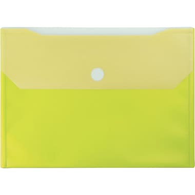 Winnable Velcro Poly File Pockets, Yellow, 12-Pack