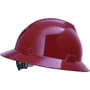 MSA Safety® V-Gard® Non-Slotted Protective Caps and Hats, Polyethylene, Hat, Standard, Red