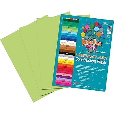 Roselle Vibrant Art Construction Paper, 9in. x 12in., Bright Green, 50 Sheets