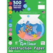 """Roselle Vibrant Art Construction Paper, Assorted, 9"""" x 12"""", 300 Sheets"""