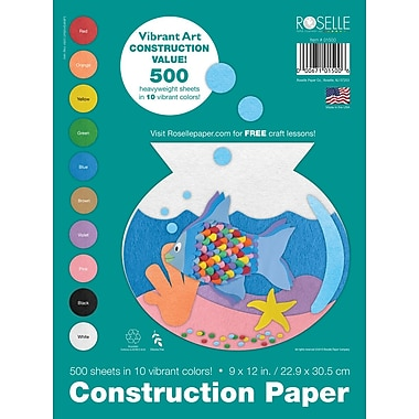 Roselle Vibrant Art Construction Paper, Assorted, 9in. x 12in., 500 Sheets