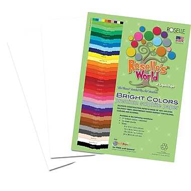 Roselle Bright Colors Sulfite Construction Paper, 18in. x 24in., Bright White, 50 Sheets