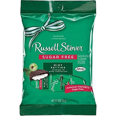 Russell Stover Mint Patties, Sugar-Free, 3 oz., 12 Bags/Box