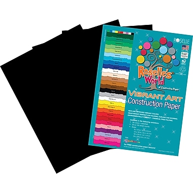 Roselle Vibrant Art Construction Paper, 24in. x 36in., Black, 50 Sheets