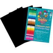 Roselle Vibrant Art Construction Paper, 24 x 36, Black, 50 Sheets