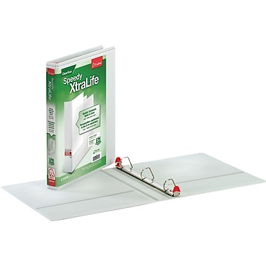Cardinal 1in. Speedy XtraLife Non-Stick View Binder with Locking Slant-D Rings, White
