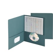 Leatherette 2 Pocket Portfolios, Pockets slit to hold Business Cards/Electronic Media, Letter, Teal, 25/Box