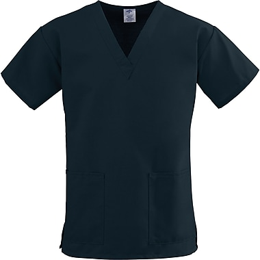 ComfortEase™ Ladies Two-pockets V-neck Scrub Tops, Black, XL