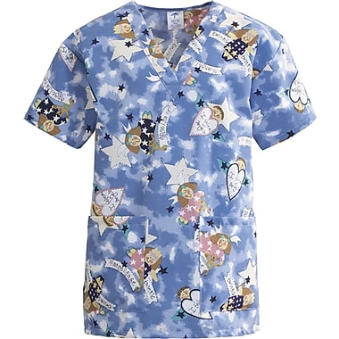 ComfortEase™ Ladies Two-pockets V-neck Scrub Tops, Angel Face Print, Medium