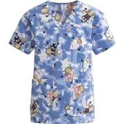 ComfortEase™ Ladies Two-pockets V-neck Scrub Tops, Angel Face Print, Medium