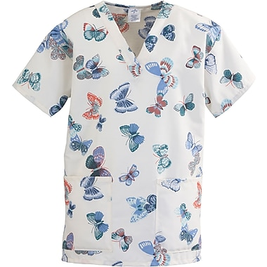 ComfortEase™ Ladies Two-pockets V-neck Scrub Tops, Butterflies Print, XL