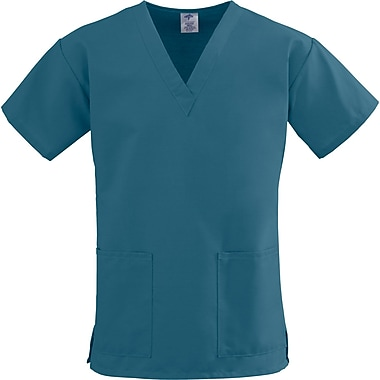 ComfortEase™ Ladies Two-pockets V-neck Scrub Tops, Caribbean Blue, Large