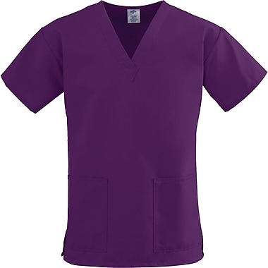 ComfortEase™ Ladies Two-pockets V-neck Scrub Tops, Eggplant, Large