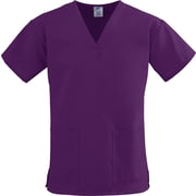 ComfortEase™ Ladies Two-pockets V-neck Scrub Tops, Eggplant, XL