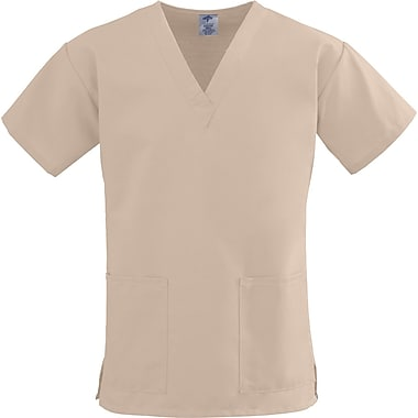 ComfortEase™ Ladies Two-pockets V-neck Scrub Tops, Khaki, XS