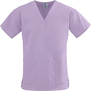 ComfortEase™ Ladies Two-pockets V-neck Scrub Tops, Lavender, 3XL