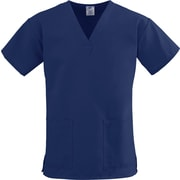 ComfortEase™ Ladies Two-pockets V-neck Scrub Tops, Midnight Blue, XS