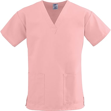 ComfortEase™ Ladies Two-pockets V-neck Scrub Tops, Pink, XS