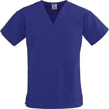 ComfortEase™ Ladies Two-pockets V-neck Scrub Tops, Purple, Small