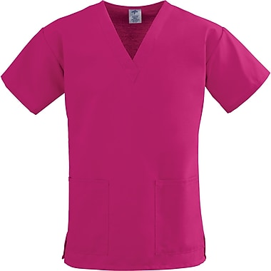 ComfortEase™ Ladies Two-pockets V-neck Scrub Tops, Ruby, Medium