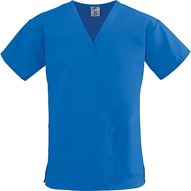 ComfortEase™ Ladies Two-pockets V-neck Scrub Tops, Royal Blue, Small