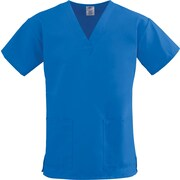 ComfortEase™ Ladies Two-pockets V-neck Scrub Tops, Royal Blue, Large