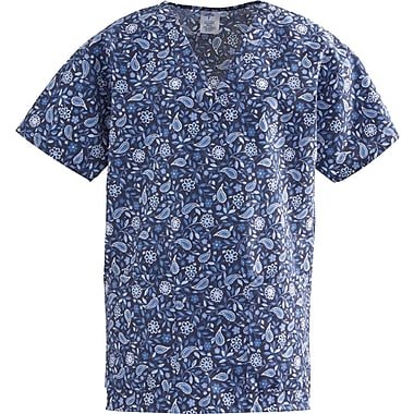 ComfortEase™ Ladies Two-pockets V-neck Scrub Tops, Rhapsody Blue Print, Small
