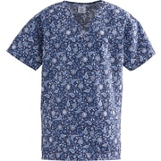 ComfortEase™ Ladies Two-pockets V-neck Scrub Tops, Rhapsody Blue Print, XS