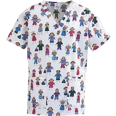 ComfortEase™ Ladies Two-pockets V-neck Scrub Tops, Stick People Print, XS
