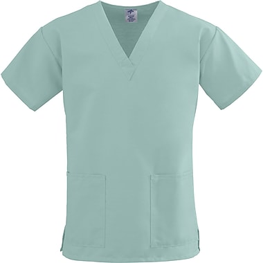 ComfortEase™ Ladies Two-pockets V-neck Scrub Tops, Seaspray, 3XL