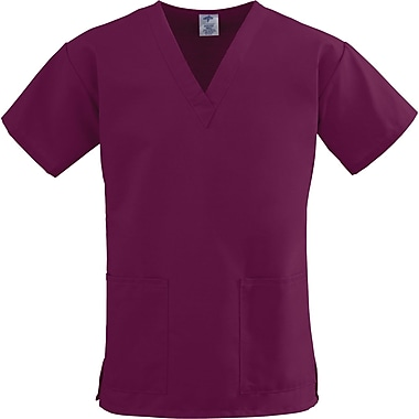 ComfortEase™ Ladies Two-pockets V-neck Scrub Tops, Wine, XL