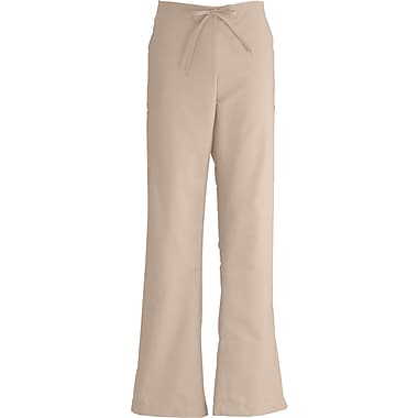 ComfortEase™ Ladies Drawstring and Elastic Waist Cargo Scrub Pants, Khaki, Medium, Reg Length