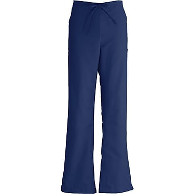 ComfortEase™ Ladies Drawstring & Elastic Waist Cargo Scrub Pants, Midnight Blue, Medium, Reg Length
