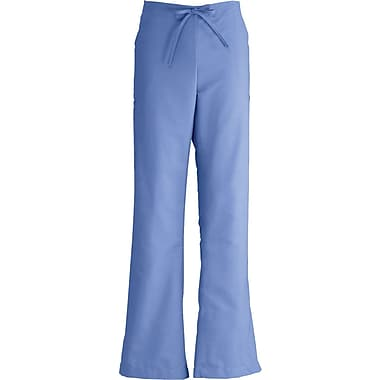ComfortEase™ Ladies Drawstring and Elastic Waist Cargo Scrub Pants, Ceil Blue, Large, Reg Length