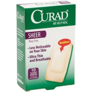 "Curad® Adhesive Bandages, Sheer, XL Size, 3 3/4"" L x 2"" W, 10 Bandages/Box, 24 Boxes/Case"